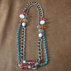 Nine West rhinestone bead layering necklace